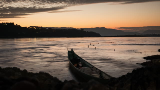 Mekong rivier, haven: time-lapse