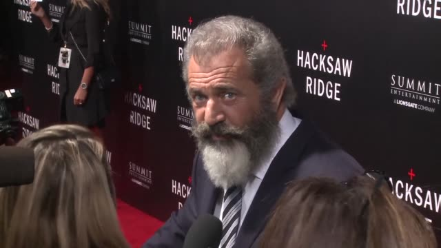 mel gibson attends the premiere of hacksaw ridge which he directed at the samuel goldwyn theater in beverly hills california - samuel goldwyn theater stock videos & royalty-free footage