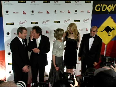 mel gibson geoffrey rush olivia newtonjohn nicole kidman and james garner at the g'day la penfolds black tie gala dinner at the century plaza hotel... - mel gibson stock videos and b-roll footage