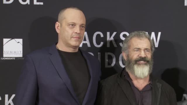 mel gibson vince vaughn luke bracey and colonel jack h jacobs at hacksaw ridge washington dc special screening and qa on october 28 2016 in... - mel gibson stock videos and b-roll footage