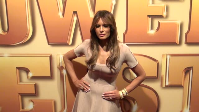 melania trump attends the tower heist premiere at the ziegfeld theater in new york on 10/24/11 - melania trump stock videos & royalty-free footage