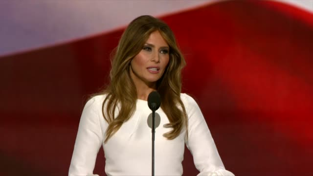 melania trump wife of republican presidential candidate donald trump talks about how much trump loves his family and his country - melania trump stock videos & royalty-free footage