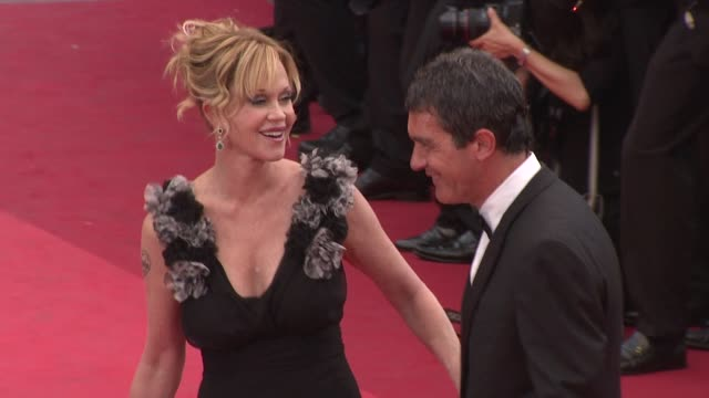 melanie griffith and antonio banderas at the opening night midnight in paris premiere 64th cannes film festival at cannes - melanie griffith stock videos and b-roll footage