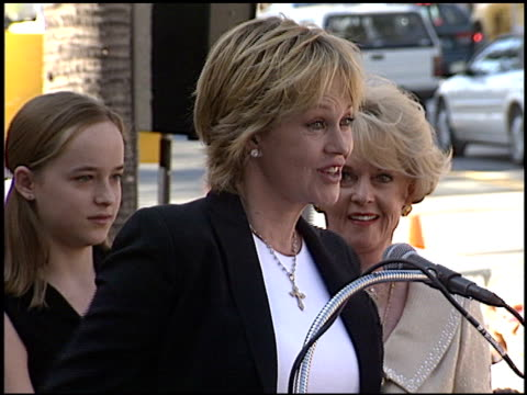 melanie griffith at the dediction of tippi hedren's walk of fame star at the hollywood walk of fame in hollywood, california on january 30, 2003. - tippi hedren stock videos & royalty-free footage