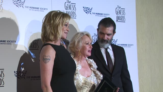 melanie griffith,, tippi hedren, antonio banderas at the 24th genesis awards at beverly hills ca. - tippi hedren stock videos & royalty-free footage