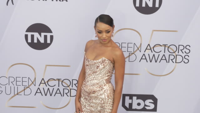 melanie liburd at the 25th annual screen actors guild awards at the shrine auditorium on january 27 2019 in los angeles california - screen actors guild awards stock videos & royalty-free footage