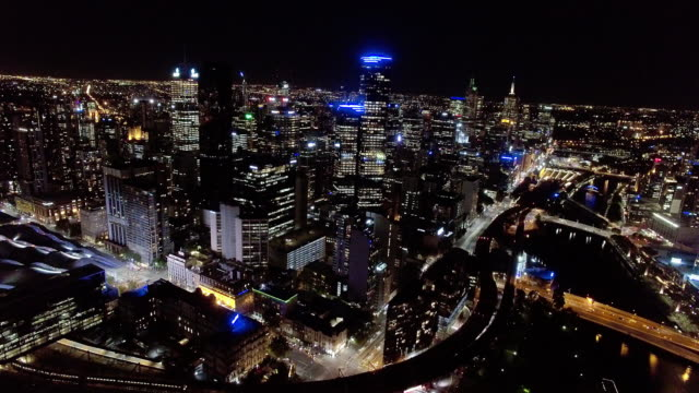 Melbourne CBD at night, Melbourne Business District.