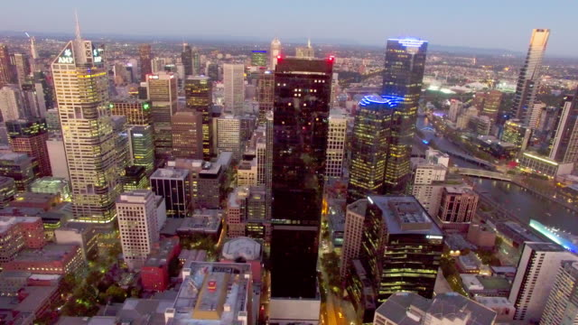 stockvideo's en b-roll-footage met melbourne cbd at twilight from above. - david ewing