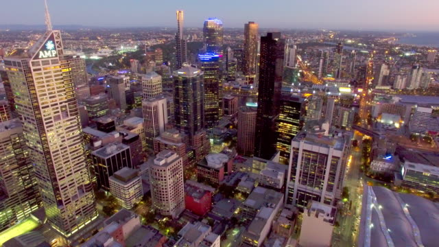 Melbourne CBD at twilight from above.