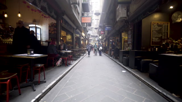 melbourne city center alley restaurants - alley stock videos & royalty-free footage