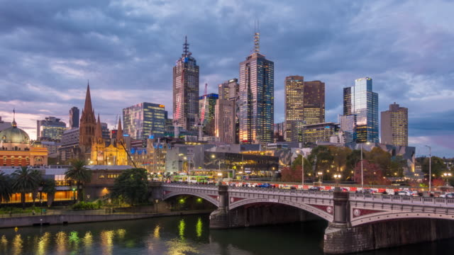 melbourne city skyline at sunset in australia - skyline stock videos & royalty-free footage