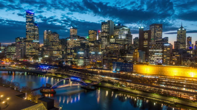 melbourne city skyline - night stock videos & royalty-free footage