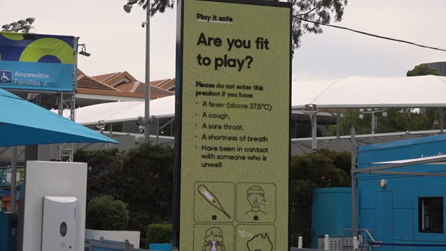 """melbourne park, where the australian open is being held, closed after a worker at one of the quarantine hotels tested postitive for coronavirus,... - """"bbc news"""" stock videos & royalty-free footage"""