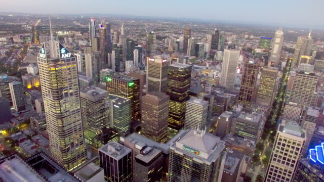 Melbourne residential district in the CBD at twilight from above.