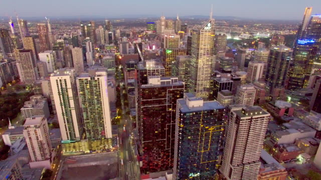 melbourne residential district in the cbd at twilight from above. - david ewing stock-videos und b-roll-filmmaterial