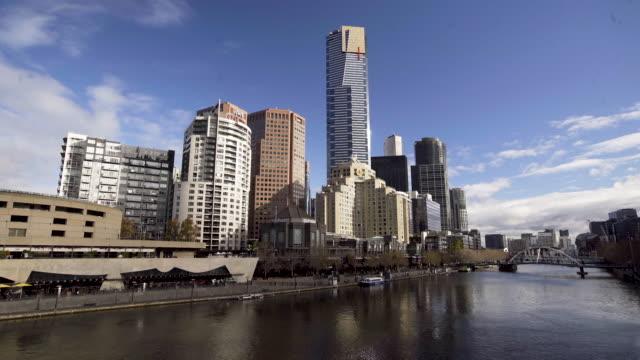 Melbourne skyline by river