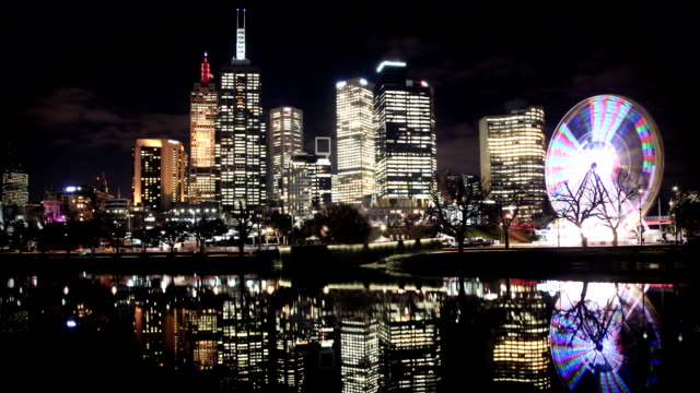 melbourne skyline river reflection at night - wheel stock videos & royalty-free footage