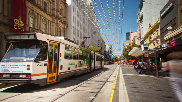 melbourne timelapse view of bourke st tramway australia - downtown stock videos & royalty-free footage