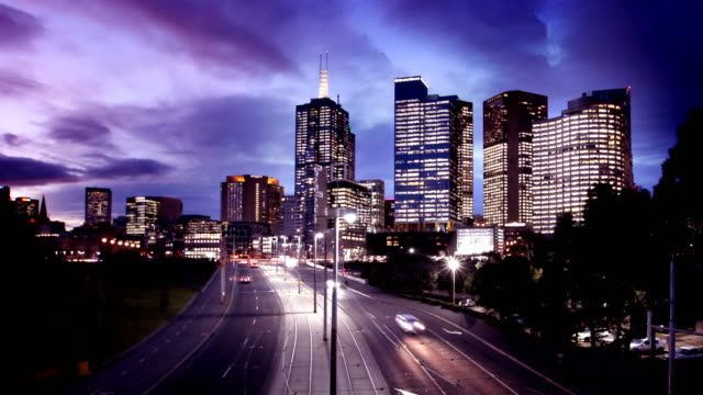 Melbourne Traffic and Skyline Day to Night Timelapse