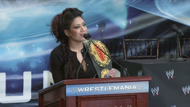 Melina on defending her belt at Wrestlemania 23 at the Donald Trump and World Wrestling Entertainment News Conference for WrestleMania 23 at Trump...