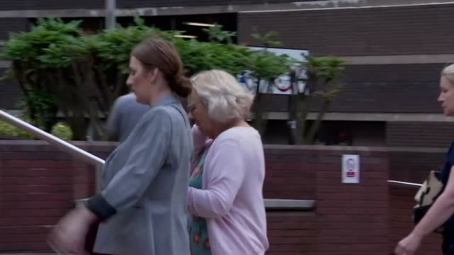 melisa birkinshaw arrives at birmingham crown court to be sentenced for perverting the course of justice by going to holland to give cash and a phone... - justice concept stock videos & royalty-free footage