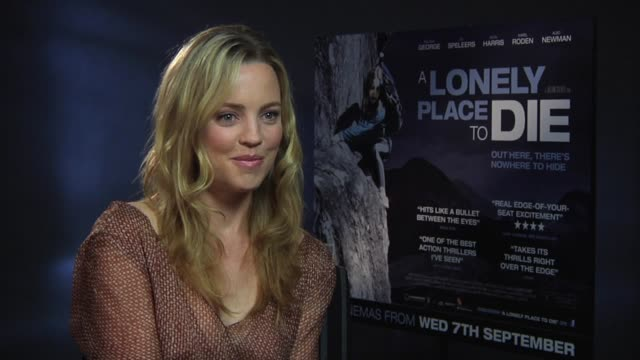 melissa george on how she prepared for the physical exertion of the role at the a lonely place to die at london england - melissa george stock videos & royalty-free footage