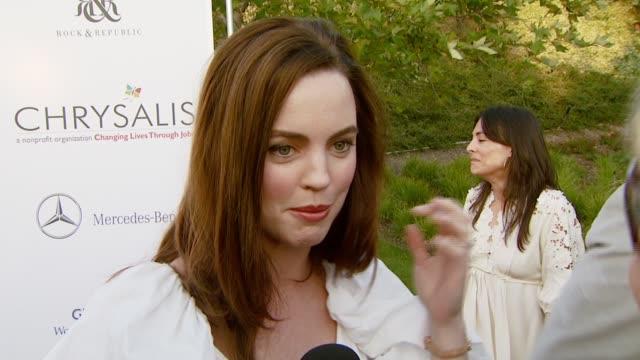 melissa george on the event and how celebrities lending their names to a cause can be beneficial at the chrysalis butterfly ball at a private... - chrysalis butterfly ball video stock e b–roll