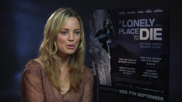 melissa george on what she wants the audience to take away with them at the a lonely place to die at london england - melissa george stock videos & royalty-free footage