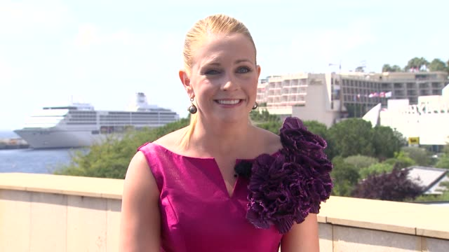 melissa joan hart on things she has in common with joey. at the 51st monte-carlo television festival at monte-carlo . - melissa joan hart video stock e b–roll