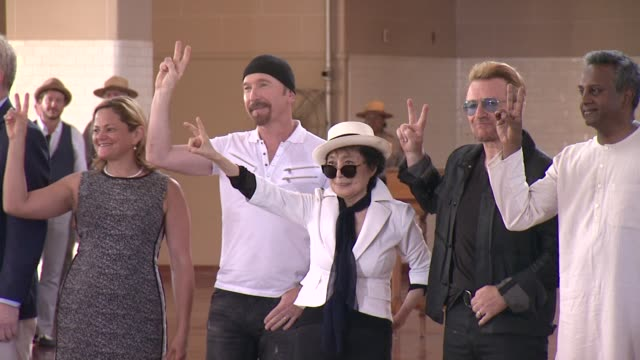 melissa markviverito the edge yoko ono bono and salil shetty watch unveiling of a giant tapestry in honor of john lennon at bono and yoko ono honor... - david 'the edge' howell evans stock videos and b-roll footage