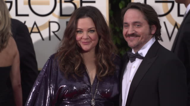 melissa mccarthy and ben falcone at 73rd annual golden globe awards - arrivals at the beverly hilton hotel on january 10, 2016 in beverly hills,... - ben falcone stock videos & royalty-free footage