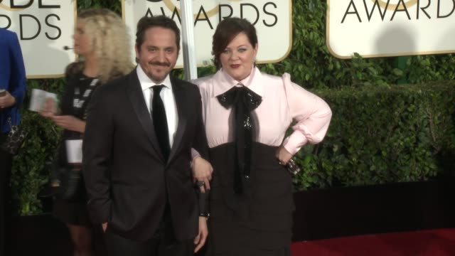 Melissa McCarthy Ben Falcone at 72nd Annual Golden Globe Awards Arrivals at The Beverly Hilton Hotel on January 11 2015 in Beverly Hills California