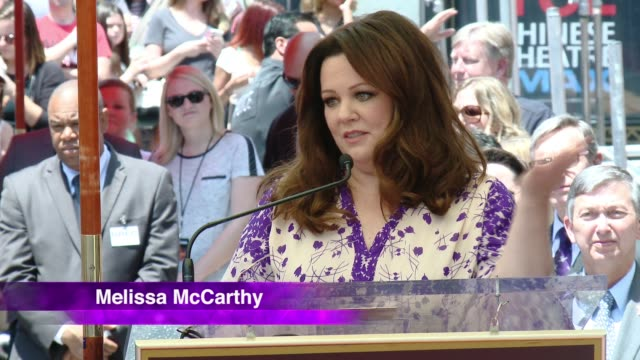 melissa mccarthy honored with star on the hollywood walk of fame at hollywood walk of fame on may 19, 2015 in hollywood, california. - ben falcone stock videos & royalty-free footage