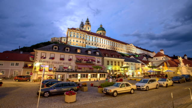 Melk Abbey as seen from town square day to night lapse