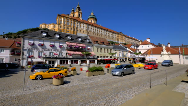 melk abbey as seen from town square day - circa 11th century stock videos & royalty-free footage