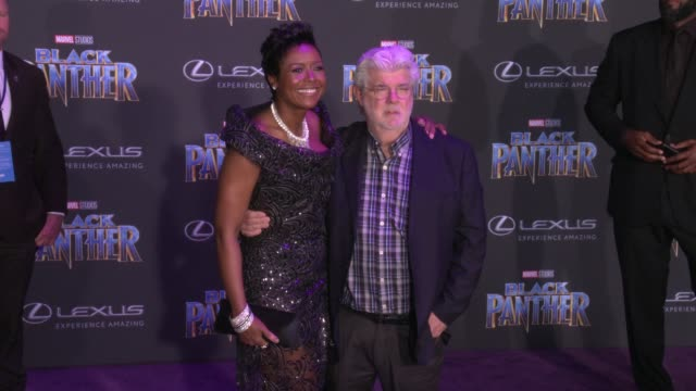 Mellody Hobson and George Lucas at the Marvel Studios' 'Black Panther' World Premiere at Dolby Theatre on January 29 2018 in Hollywood California