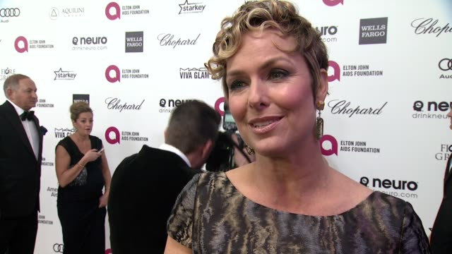 melora hardin on being at the event, and on elton john at the 23rd annual elton john aids foundation academy awards viewing party sponsored by... - melora hardin stock videos & royalty-free footage