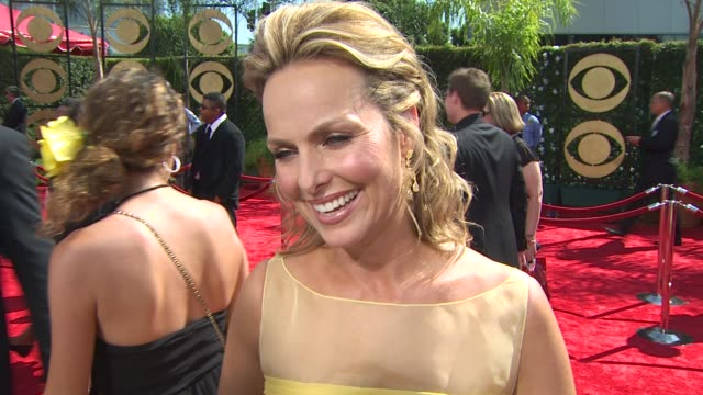 melora hardin on her show's nomination, getting ready for the night, who she's rooting for, experiencing the emmys, what she's wearing. at the 61st... - melora hardin stock videos & royalty-free footage