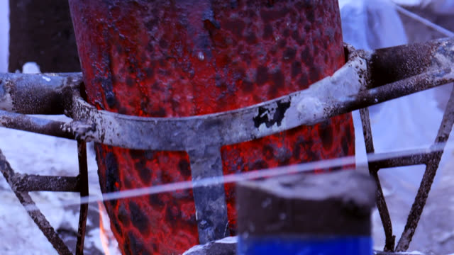 melted iron liquid in the crucible - stock video - orthopedic equipment stock videos & royalty-free footage