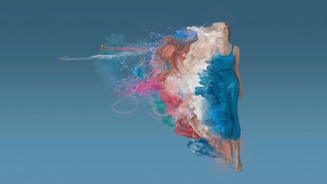 melting beauty at blue background - creativity stock videos & royalty-free footage