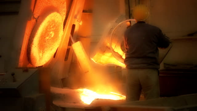 melting metal in the foundry - metal industry stock videos and b-roll footage
