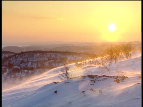 melting mist over snow covered ground at sunrise, oulanka national park, finland - finland stock videos & royalty-free footage