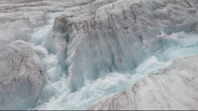 meltwater on the athabasca glacier which is receding extremely rapidly and has lost over 60% of its ice mass in less than 150 years. - glacier stock videos & royalty-free footage