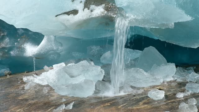 meltwater pours from a fissure at the side of the aletsch glacier on august 21 2019 near bettmeralp switzerland at over 22km in length the aletsch is... - pouring stock videos & royalty-free footage