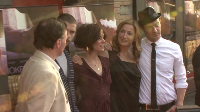 melvil paupaud, parker posey, zoe cassavetes, justin theroux, and guest at the 'broken english' new york premiere at landmark sunshine cinema in new... - parker posey stock videos & royalty-free footage