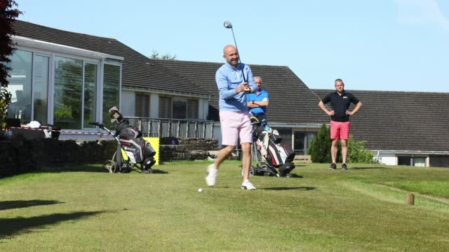 member of bryn meadows golf club tees off at as restrictions on playing golf in wales have been eased but still differ to golf in england on may 20,... - wellbeing stock videos & royalty-free footage