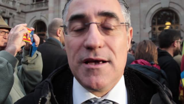 member of europen parliament of convergencia democratica of catalonia ramon tremosa balcells gives support to the president of the catalan... - mep stock videos & royalty-free footage