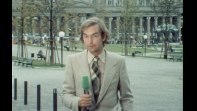 member of notorious baader meinhof gang granted parole after 24 years in jail 1977 reporter to camera - jon snow journalist stock-videos und b-roll-filmmaterial