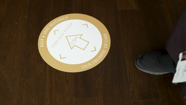 member of staff lay down social distance signs at shangri-la hotel at the shard as it re-opens to the public on may 17, 2021 in london, england. from... - lying down stock videos & royalty-free footage