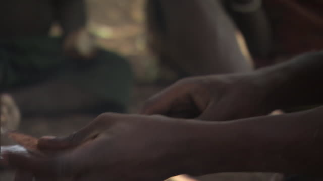 vidéos et rushes de a member of the hadza tribe cleans a knife with a banana peel near a campfire in tanzania. - écorce